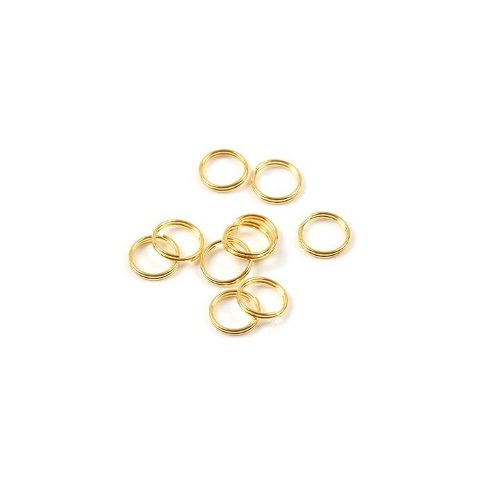 Gold Plated 925 Sterling Silver Round Split Ring Jump Rings - 7mm (10pcs/pk)