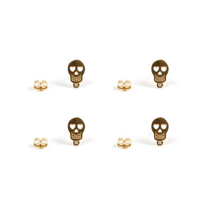 Gold Plated 925 Sterling Silver Sugar Skull Earrings with Jump Ring with Butterfly Approx 10x6mm, 2 Pairs