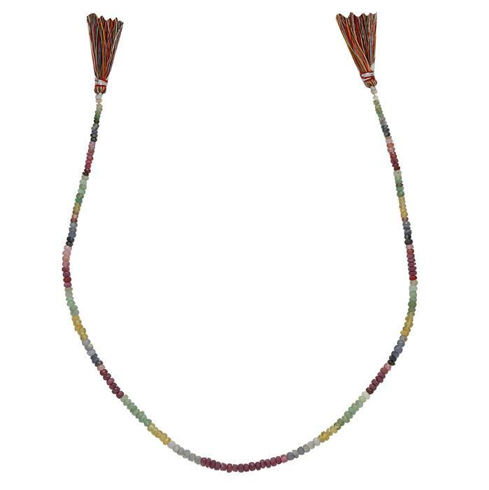 55cts Ruby, Emerald & Sapphire Graduated Faceted Rondelles Approx 2x1 to 4x2mm, 40cm Strand.