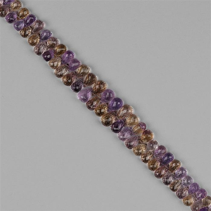 175cts Amethyst, Citrine & Ametrine Graduated Faceted Drops Approx 7x4 to 11x8mm, 18cm Strand.