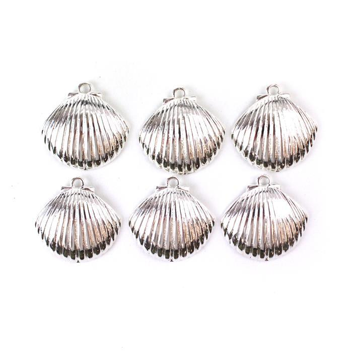 Silver Plated Base Metal Scallop Shell Pendants, Approx 30mm (6pcs)