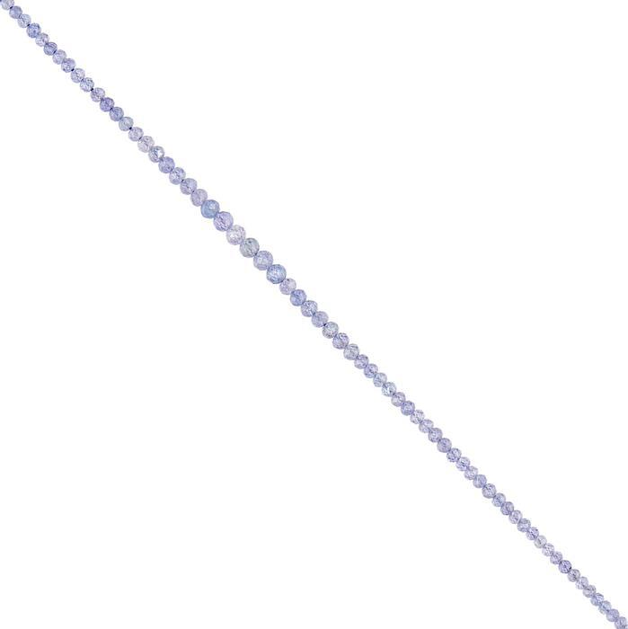 20cts Tanzanite Graduated Micro Faceted Rounds Approx 1 to 4mm, 36cm Strand.