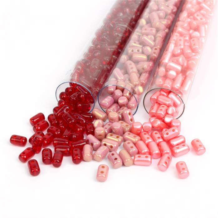 Forget the Rullas INC 66gms Rulla Beads in Ruby, Red Lustre & Light Coral