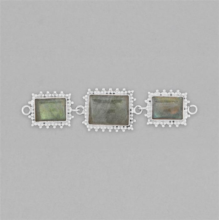 925 Sterling Silver Gemset Triple Linked Connector Approx 81x20mm Inc. 26cts Labradorite Cushion Cabochons