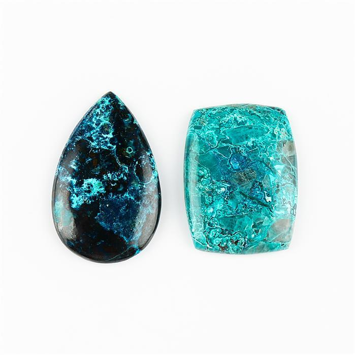 46cts Azurite Malachite Multi Shape Cabochons. (Pack of 2)