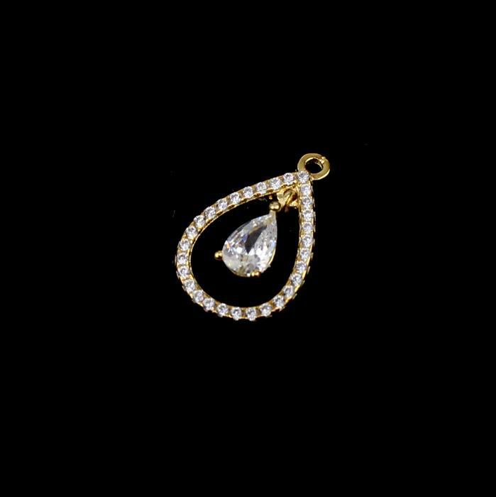 Gold Plated 925 Sterling Silver Cubic Zirconia Drop Pendant Approx 15mm, 1pcs