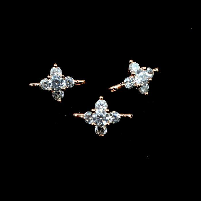 Rose Gold Plated 925 Sterling Silver Cubic Zirconia Two Row Spacers, Approx 11mm, 3pcs