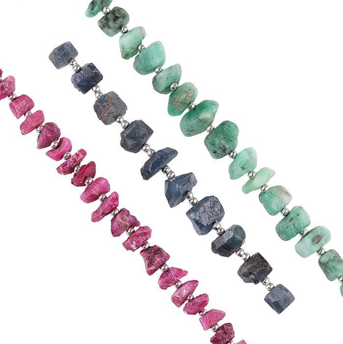 70cts Emerald, Blue Sapphire & Ruby Graduated Rough Nuggets Approx 4x2 to 6x3mm, Strand.