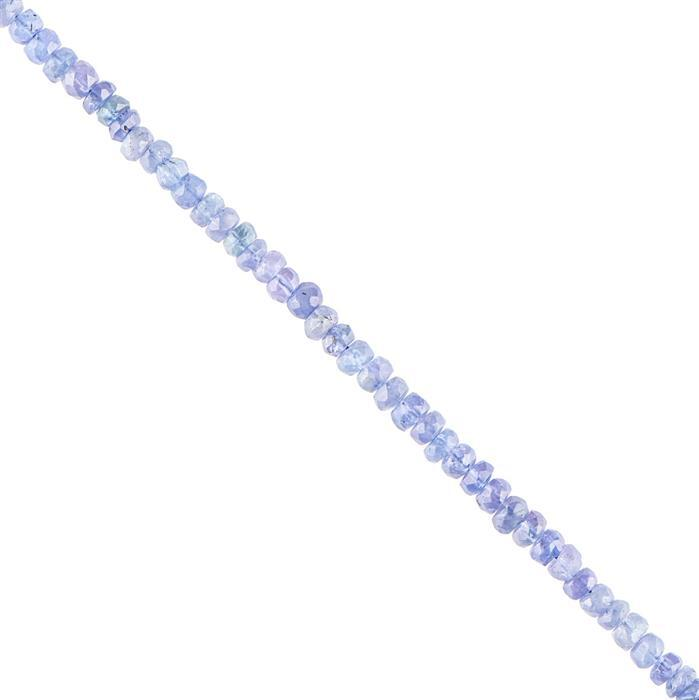 25cts Tanzanite Graduated Faceted Rondelles Approx 3x2 to 4x3mm, 18cm Strand.