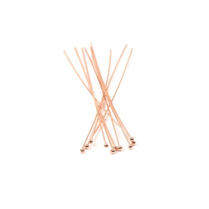 Rose Gold Plated 925 Sterling Silver Ball Headpins - 50mm (0.5mm) - (10pcs/pk)