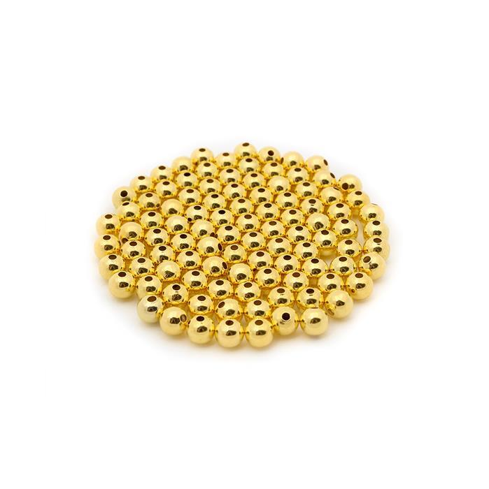Gold Plated Brass Round Beads - 5mm (100pcs/pk)