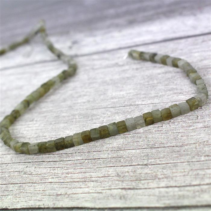 60cts Labradorite Cube Approx 4mm, 38cm strand