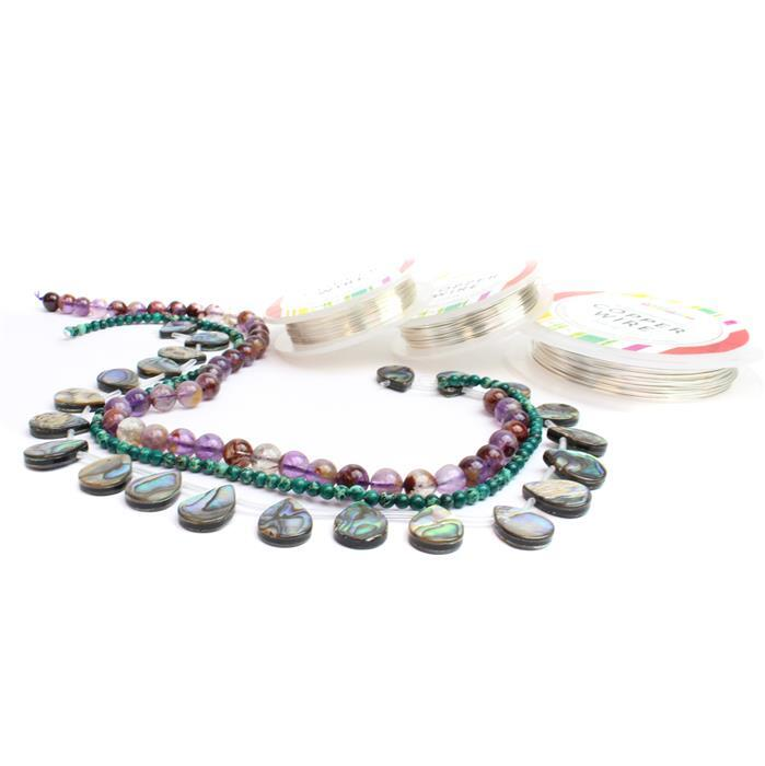 Dragonfly; 170cts Multicolour Amethyst, Abalone Top-Drilled Pears, 30cts Variscite & Wire