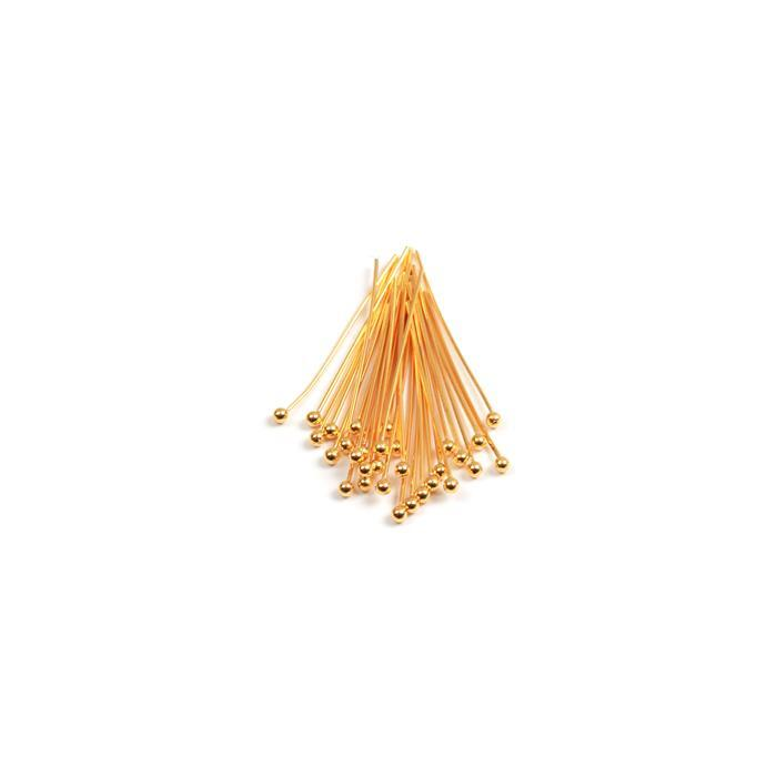 Gold Plated 925 Sterling Silver Ball Head Pins - 30mm 22 Gauge/0.6mm (30pcs)