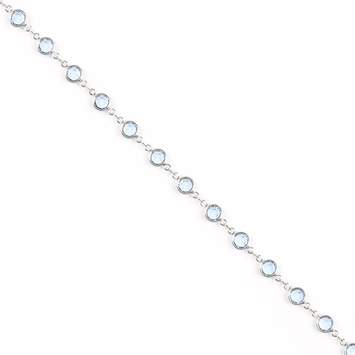 Swarovski Channel Chain, 90005, Rhodium Plating with Light Sapphire, 50cm