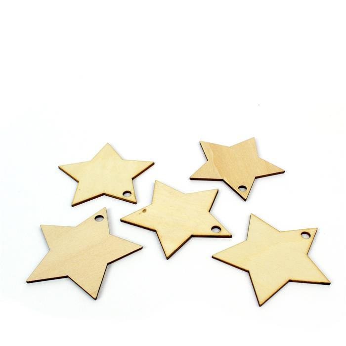Wooden Star Shapes, Approx. 65mm (5pk)