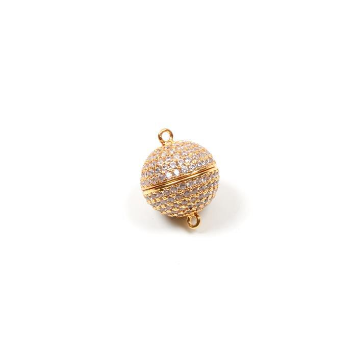 Gold Plated Magnetic Brass Clasp with Cubic Zirconia Approx 16mm