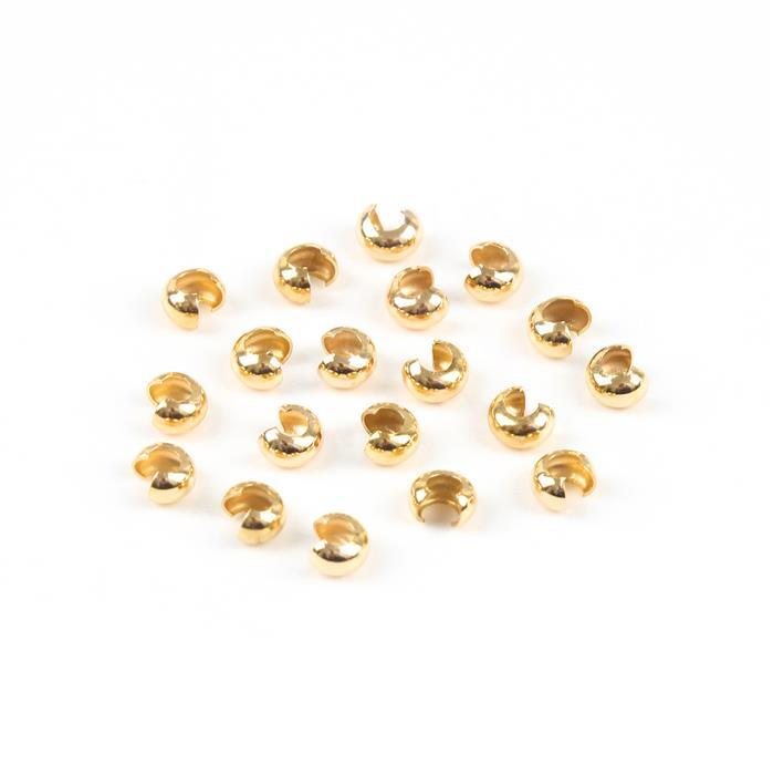 Gold Plated Sterling Silver Crimp Bead Covers - 3mm (20pcs/pk)