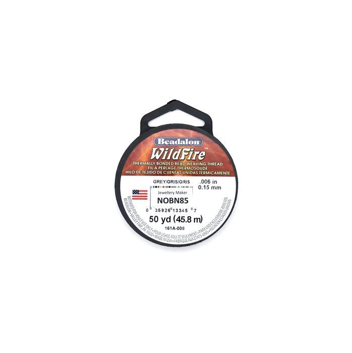 Grey Wildfire Thermally Bonding Bead Weaving Thread, .006 in, 50 yd, 0.15mm and 45.7m