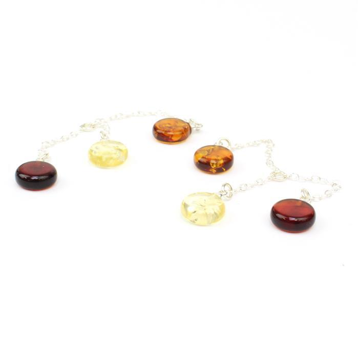 Mid Show Special! Baltic Multi-Colour Amber Round Beads Dropper Sterling Silver Element Approx 10x50mm (2pcs)
