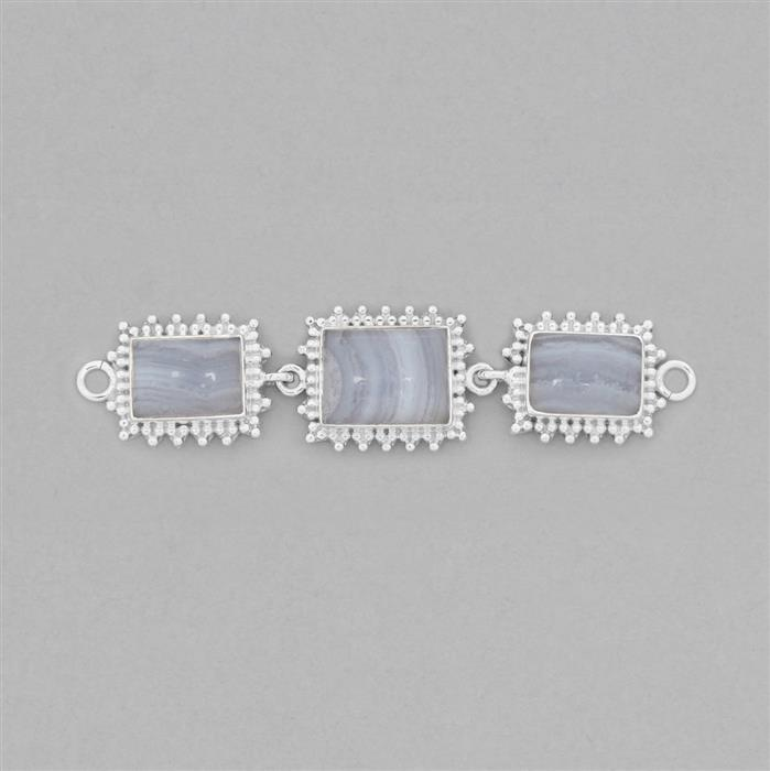 925 Sterling Silver Gemset Triple Linked Connector Approx 80x19mm Inc. 21cts Blue Lace Agate Cabochons