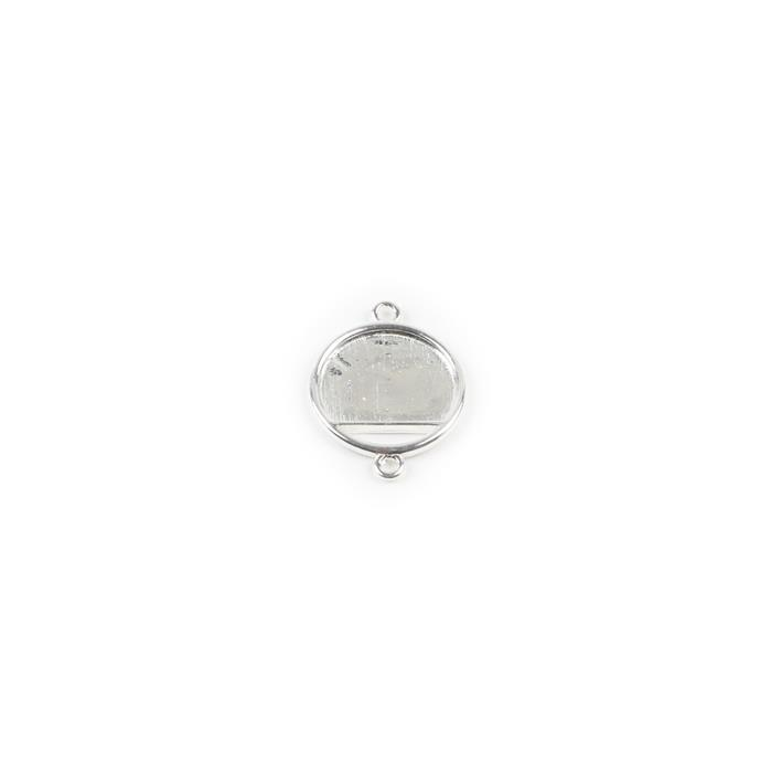 925 Sterling Silver Round Bezel Connector Approx 15mm, 1pcs