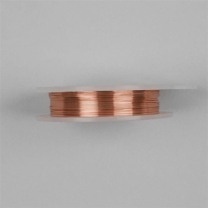 Rose Gold Coloured Silver Plated Copper Wire - 0.2mm (25m)