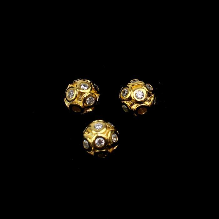 Gold Plated 925 Sterling Silver Cubic Zirconia Cluster 3D Ball Spacers Approx 7mm , 3pcs