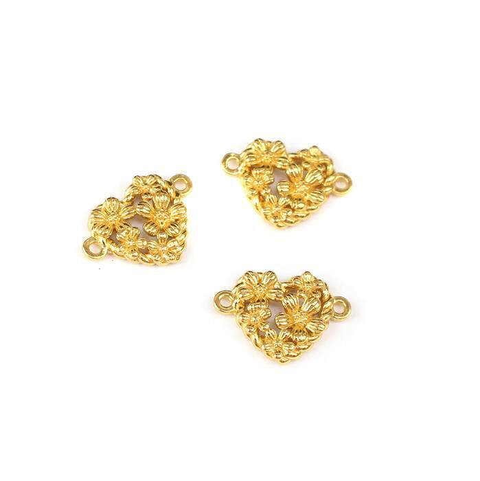 Gold Plated 925 Sterling Silver Spring Heart Connectors Approx 10x13mm 3pcs