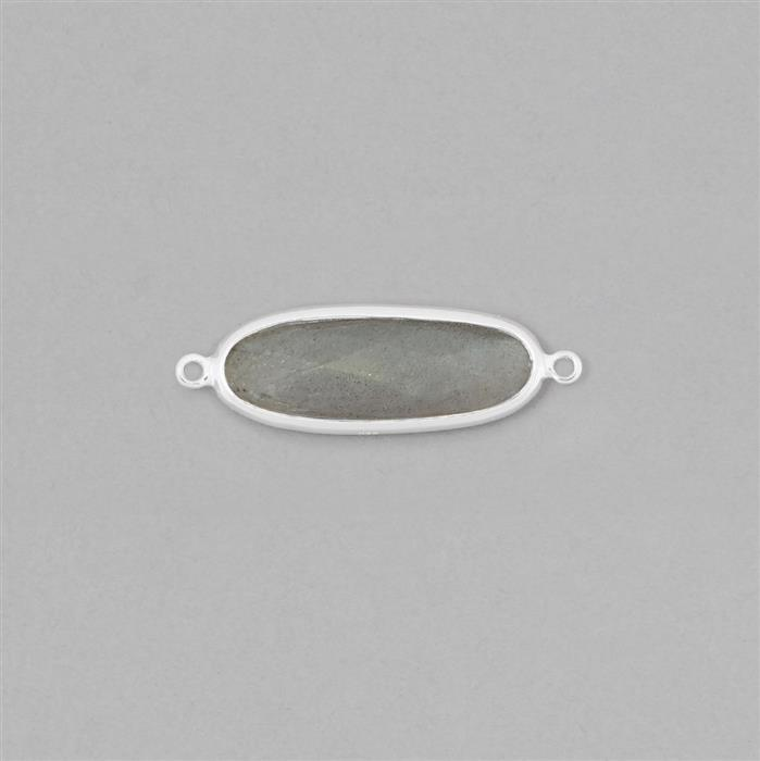 925 Sterling Silver Bezel Connector Approx 32x10mm Inc. 7cts Labradorite Oval Approx 25x8mm