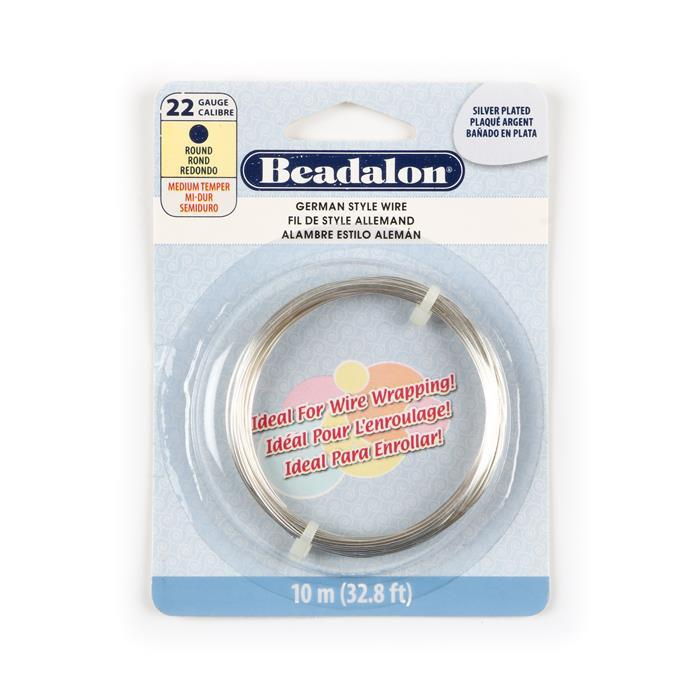 Silver Plated German Style Wire, Round, 22 gauge (.025 in, .64 mm), 10 m (32.8 ft)