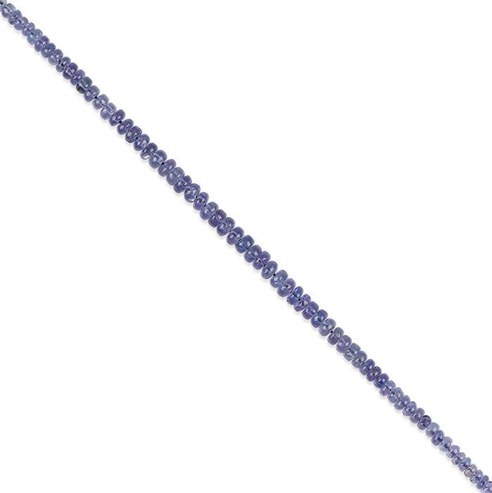 30cts Tanzanite Graduated Plain Rondelles Approx 2x1 to 4x2mm, 18cm Strand.