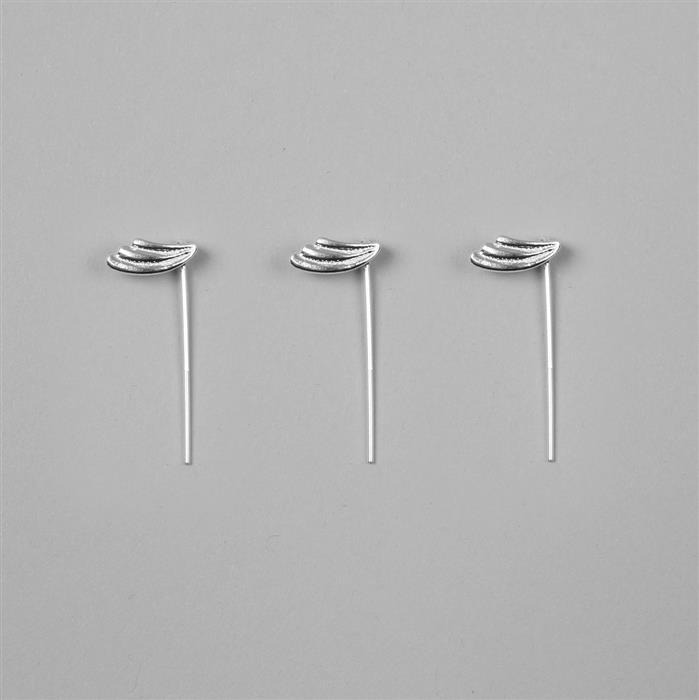 925 Sterling Silver Leaf Bail With Eyepin, Pin 0.8*30mm(3Pcs)