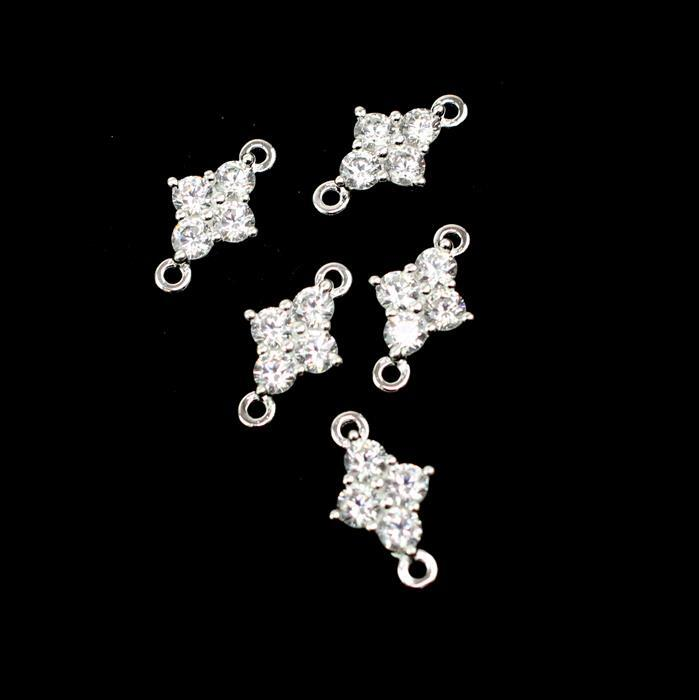 925 Sterling Silver Cubic Zirconia Connectors Approx 12mm, 5pcs