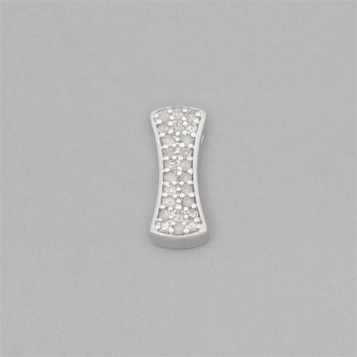 Sterling silver curved rectangle diamond spacer approx