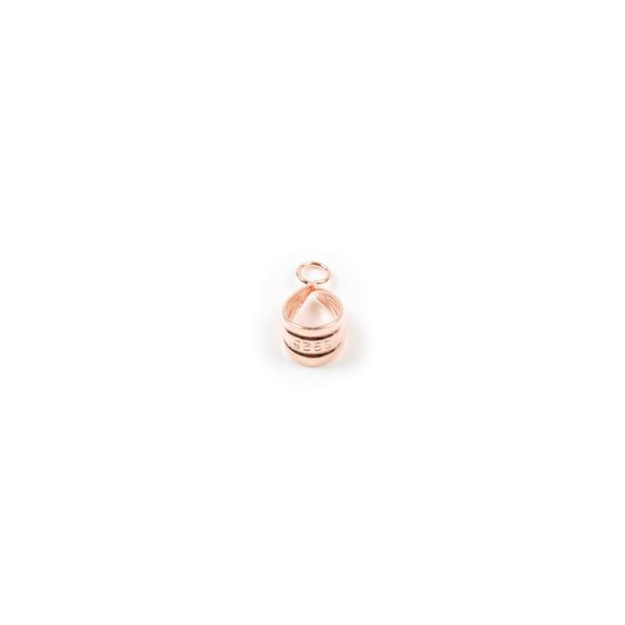 Rose Gold Plated 925 Sterling Silver Fluted Bails With Loop - 14x7mm (1pc)