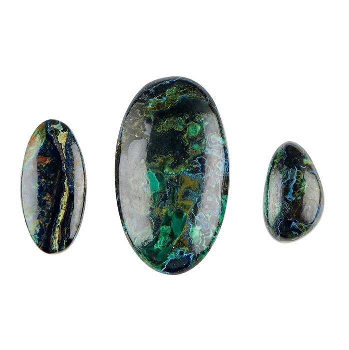 70cts Azurite Malachite Multi Shape Cabochons. (Pack of 3)
