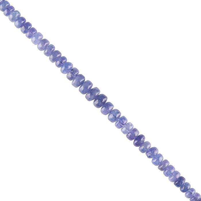 96cts Tanzanite Graduated Plain Rondelles Approx 4x2 to 8x5mm, 22cm Strand.