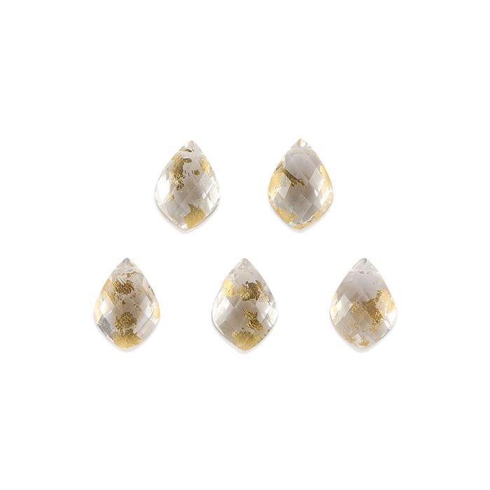 28cts Crystal Quartz with Gold Filled Checkerboard Cut Fancy Shape 14x10mm. (Pack of 5)