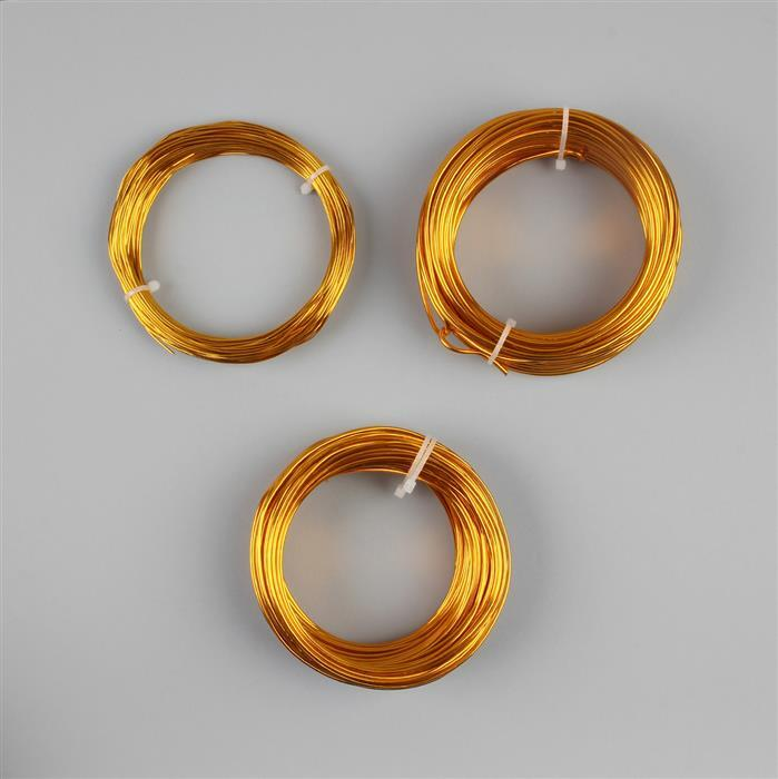20m each Gold Colour Aluminum Wire Approx 1mm, 1.5mm, 2mm set of 3