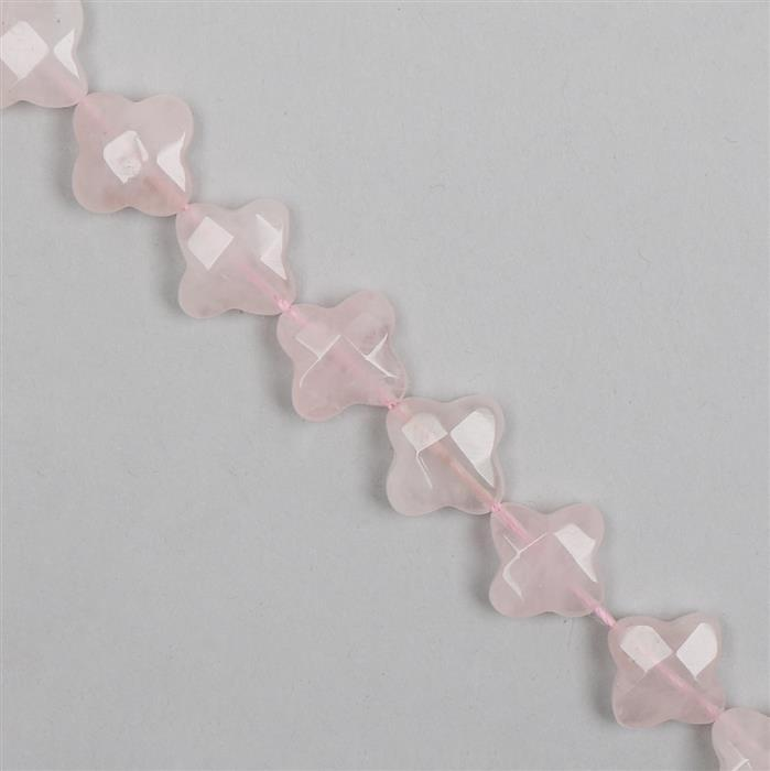 120cts Rose Quartz Flowers Approx 13-14mm 30cm Strand