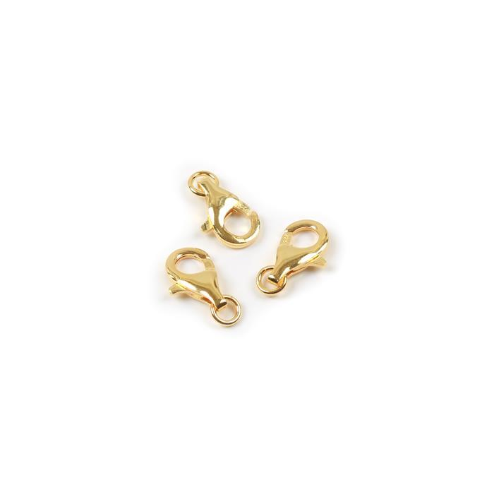 Gold Plated 925 Sterling Silver Trigger Clasps - 13mm (3pcs/pk)