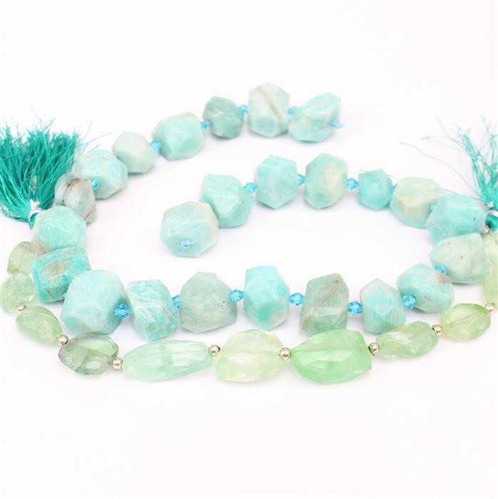 Blue Lagoon INC 145cts Fluorite Nuggets & 510cts Amazonite Nuggets