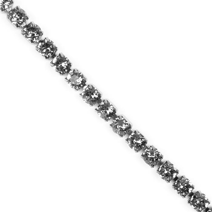 Swarovski Round Extended Cupchain, Gun Metal Plating with Black Diamond SS29 (6.23mm) approx, 50cm