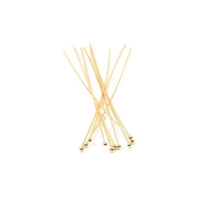 Gold Plated 925 Sterling Silver Ball Headpins - 50mm (0.5mm) - (10pcs/pk)