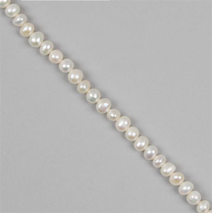 White Freshwater Cultured Potato Pearls Approx 5x6mm