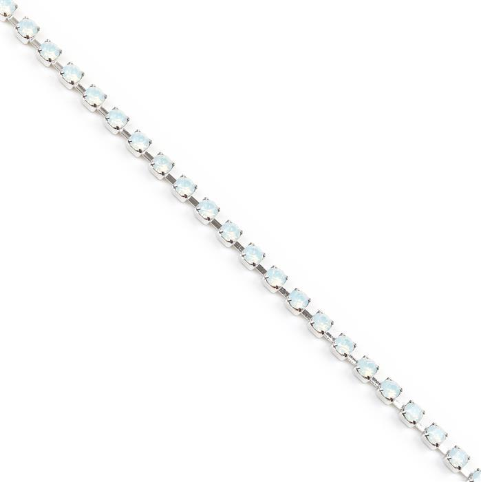 Swarovski Extended Cupchain, 27104, White Opal, Rhodium Brushed, PP32, 50cm