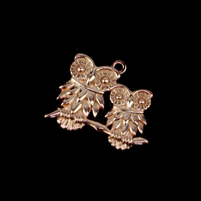 Rose Gold Plated 925 Sterling Silver Our Mommy & Baby Owl Pendant 20mm 1pk