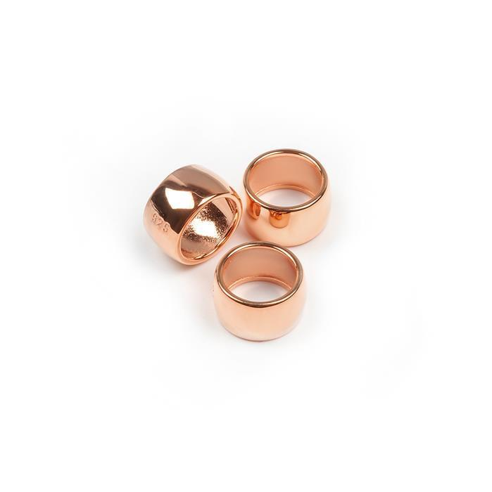 Rose Gold Plated 925 Sterling Silver Ring Spacer Approx 10mm, 3pcs