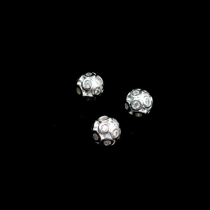 925 Sterling Silver Cubic Zirconia Cluster 3D Ball Spacers 7mm , 3pcs
